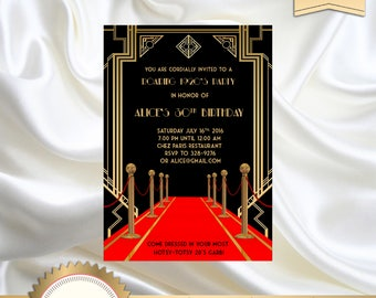 1920s invitations etsy great gatsby style art deco birthday party invitation red carpet 21st 30th 40th 50th filmwisefo Choice Image