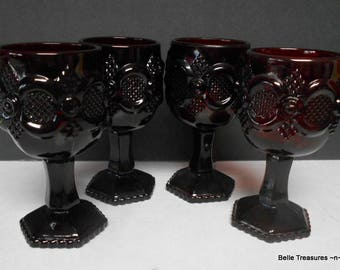 Set of 4 Avon Ruby Red Cape Cod 1876 Glass Wine Port Cordial Drinking Glasses