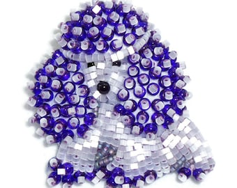 Purple Delica Beaded TOY POODLE keepsake pin pendant dog jewelry / Ready to Ship