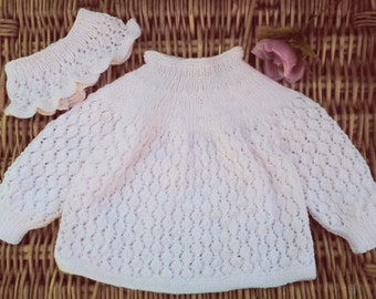 Baby girl's pale pink hand knitted Diamond lace lacy dress and headband / earwarmer outfit OOAK original design