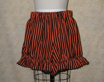 Pirate Booty Bloomers knickers ric rac trim Costume shorts orange black stripe cell pocket adult womens small to x large cosplay knickers
