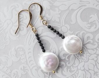Pearl Black Onyx Earrings, Bridal Earrings, Pearl Earrings, Wedding Jewelry, Black Onyx Jewelry, Gold Earrings, Gift For Her, Birthstone