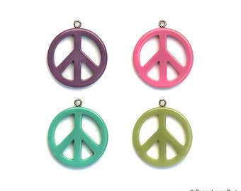 Peace Sign Pendant Resin Funky Rockabilly 31mm Hippy Chic Retro Purple Pink Green Turquoise