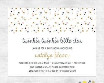 twinkle twinkle little star baby shower invites / girl baby shower invitations / printed invitations