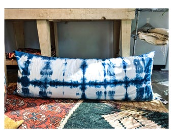 Body Pillow Cover Shibori Indigo Tie Dye Bedding