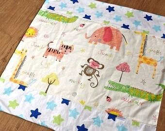 Baby boy blanket - Baby blanket - Flannel Blanket - Baby girl blanket - Swaddle blanket- Security Blanket - Travel blanket - Learn Animals