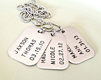 Personalized Dog Tag Necklace - Custom Hand Stamped Trio of Tags - Mens Jewelry - Wedding Anniversary Couples Daddy Groomsmen Gift