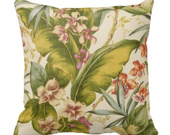 outdoor pillows, tommy bahama pillow, palm leaf pillow, throw pillow, patio pillows, outside pillow, tropical pillow cover, palm pool pillow