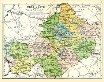 West Meath 1897 - Antique Irish Map of County West Meath - PRINT 8 x 10ins - Ships worldwide