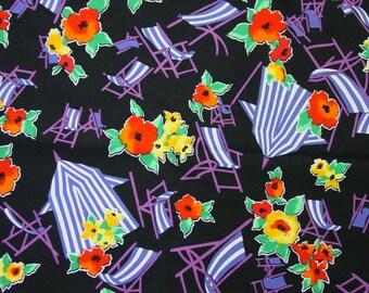 "Vintage Cotton Fabric Kaufman Design Beach Chairs Novelty 1 Yard x 44"""