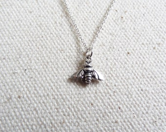 Tiny sterling silver bee necklace - bee jewelry - for her - holiday gift - charm necklace - tiny bug - animal necklace - miniature pet