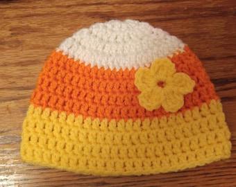 Candy Corn, Crochet, Hat, Handmade