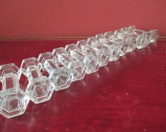 Knife rests, Crystal, 12, french vintage, beautiful condition, no chips, 6 sided  ends