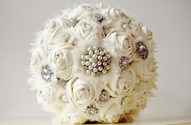 Fabric Flower Bouquet Vintage Style Wedding Bouquet