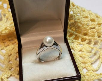 17.2 mm Silver ring with pearl 925 silver stainless SR527