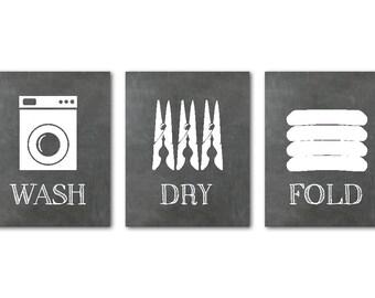 Wash Dry Fold Laundry Room Art - Wall Art Set - Chalkboard Look - Laundry Room Wall Decor - laundry subway art - wall art PRINTs