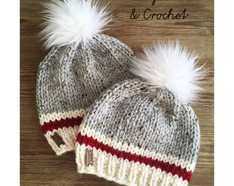 Knit Sock Monkey hat, inspired, with Faux Fur PomPom, baby to Adult sizes, 7 sizes, grey