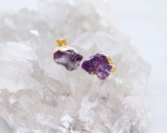 Amethyst Earrings, Raw Amethyst, Rough Amethyst, Amethyst Nugget Earrings, Post, Stud Earrings