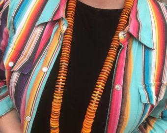 """36"""" Orange Disk Necklace"""