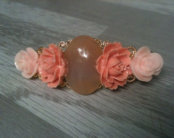 6 cm-small pin rhinestone gold/AGATE Milky natural stone / BEIGE/rhinestone AGATE baby pink flower hair clip bridal hair clip