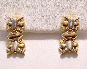 Butterfly Chain Link Pierced Post Stud Earrings Gold Silver Tone Vintage Double Decorative Accents Dangles