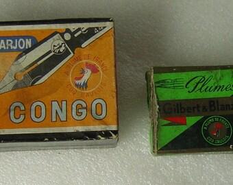 2 antique empty cardboard boxes pen nibs Gilbert Blanzy and Baignole & Farjon