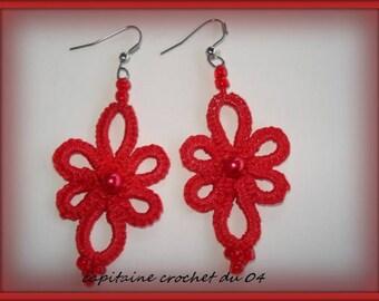 Earrings red/earrings/gift women/Lacy/tatting lace jewelry has the needle/handmade