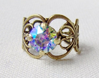 Ice blue rhinestone ring / 8mm / antiqued brass / adjustable / gift for her / Swarovski crystal / unique / girlfriend gift / vintage style