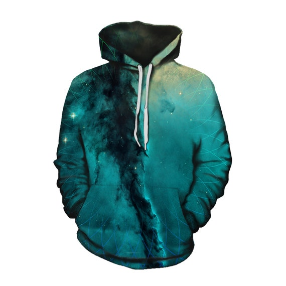 Trippy Space Zip-Up Hoodie - Nebula Forest Nature Hoody - EDM Festival Clothing - Sublimation Galaxy Print rF7FaP