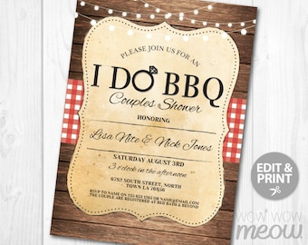 I Do BBQ Invitation Rustic Vintage Couples Shower Printable Invite Engagement Party INSTANT Download Lights Personalize Editable Printable