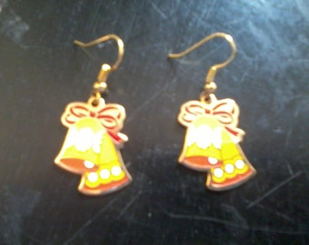 Earrings Christmas Bells Gold tone FREE shipping