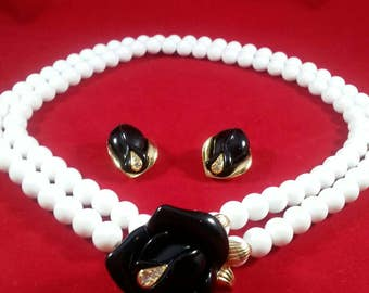 KENNETH JAY LANE Black Rose Necklace and Earrings