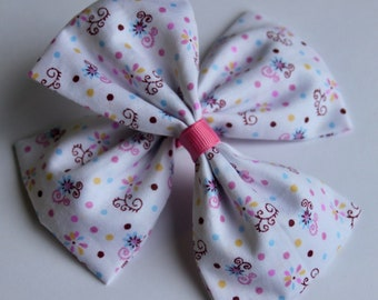 """5"""" Fabric Bow - Set of 2 - White/Pink/Blue Floral Design - Partially Lined Alligator Clip - No Slip Grip - Fabric Hair Bow Clip"""