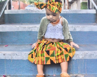 Girls African Kente Skirt, Head Wrap, Black History Month, Maxi, Girls Skirt, African Skirt, African Clothing, Baby Clothes,African Outfit