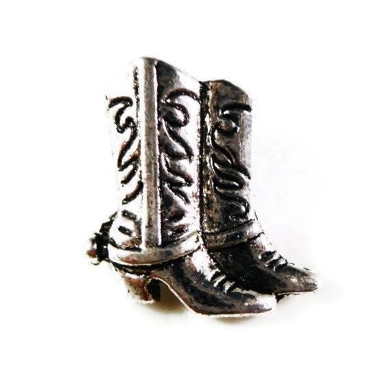 Cowboy Boot Buttons 16x6mm Antique Silver Metal Shank Buttons, Western Buttons, Wrap Bracelet Buttons, Sewing Supplies, 5pcs