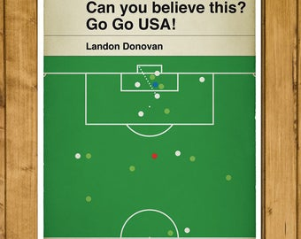 Landon Donovan goal for USA v Algeria - 2010 - Classic Book Cover Poster - Team USA - Soccer Gift (Various Sizes)