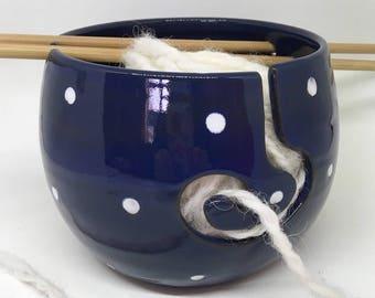 Handmade Ceramic Yarn Bowl / Wool Bowl / Blue