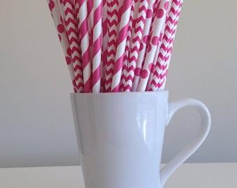 Pink Paper Straws Dark Pink Striped, Chevron, Polka Dot Party Supplies Party Decor Bar Cart Cake Pop Sticks Mason Jar Straws Graduation