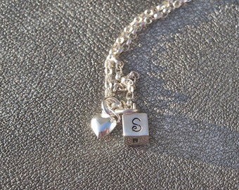Personalized Initial Cube Charm with Heart charm Necklace Hand Stamped Sterling Silver - Monogram - Gifts for Her - Mother's Day