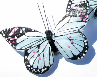 Butterfly Hair clip SOLD INDIVIDUALLY Monarch Butterfly Aqua feather butterfly handmade hair clip Butterfly Accessory by Ziporgiabella