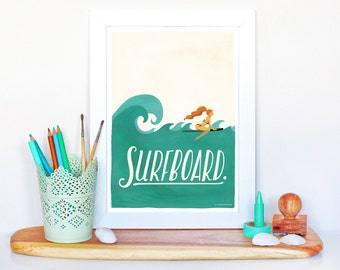 Surfboard Typography Poster, Pop Illustration, Music Art Print, Gouache Hand Lettering, Fun Pop Culture Print, Summer Vibes, Surfing