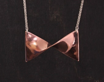 Copper Bow Necklace with Silver Chain - mixed metal - handmade necklace