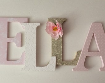 Wooden  letters for nursery blush pink, white, and gold