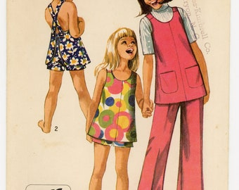 Vintage Simplicity Sewing Pattern - 8766 ca.1970 - Child's and Girl's Jiffy Bell-Bottom pants or shorts and Top