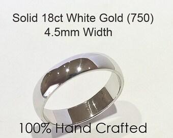 18ct 750 Solid White Gold Ring Wedding Engagement Friendship Friend Half Round Band NEW 4.5mm