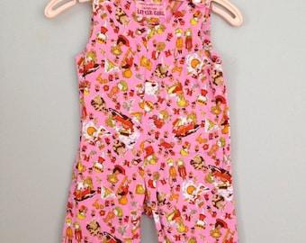 Vintage Handmade Kid Print Pink Baby Overalls