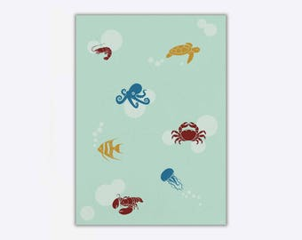 Wrapping Paper 'Marine Life // 3pcs. x 50x70cm