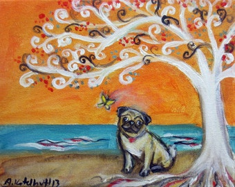 Pug butterfly Spiritual Tree of Life art original dog painting