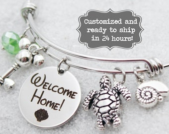 DVC Vero Beach - Welcome Home - Vacation Club - DISNEY Inspired, Resort, Custom Name Charm Bracelet Adjustable Bangle, Mickey Key, Turtle