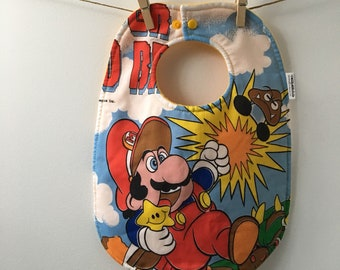 Super Mario Baby Bib - Upcycled from Vintage Bed Sheets - Nintendo Baby Gift - Geekery